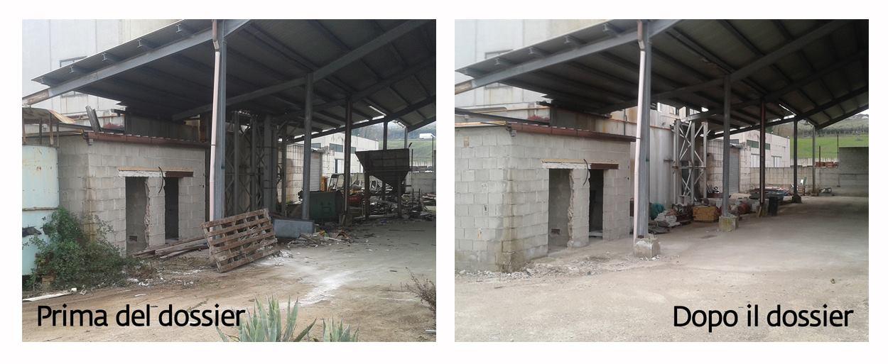 capannone attiguo alla mensa utilizzato per produrre fitofarmaci da zolfo